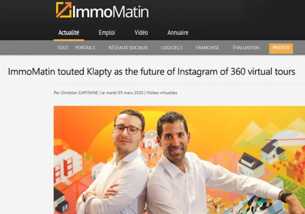 Immomatin Touted  Klapty As The Future Of Instagram Of 360 Virtual Tours!
