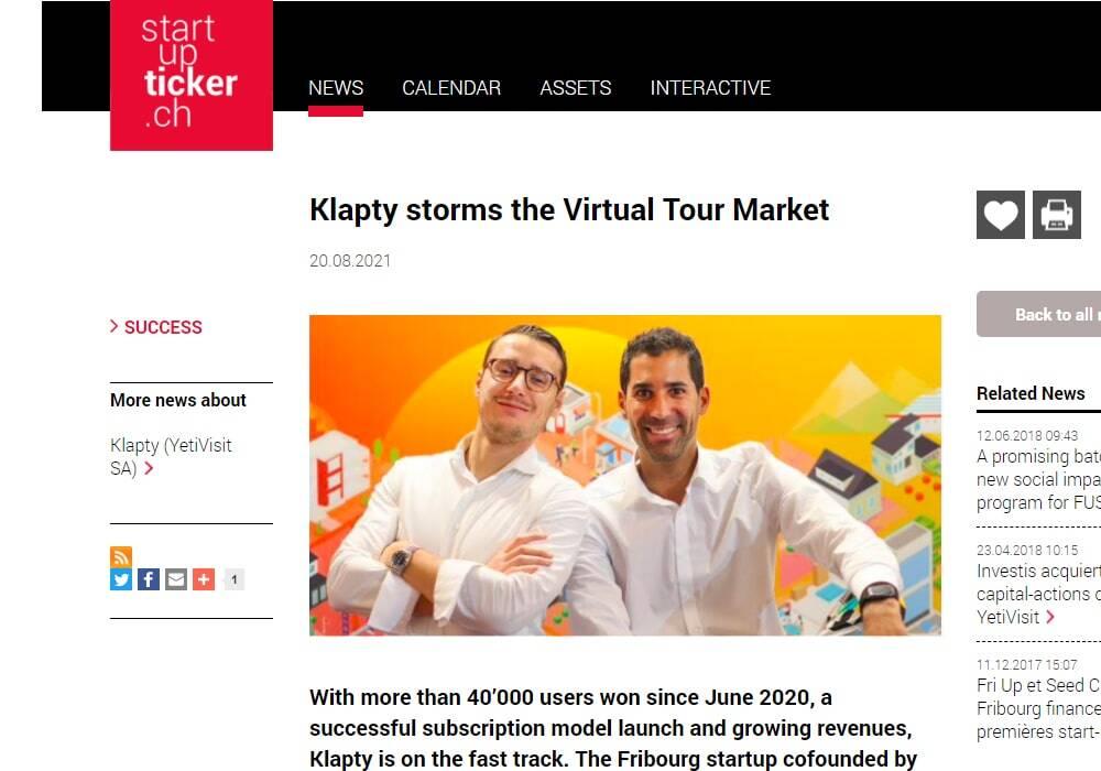 Klapty storms the Virtual Tour Market