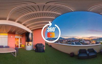 Test cam 360 Ricoh Theta Z1,  fin du coucher de soleil, End of Sunset