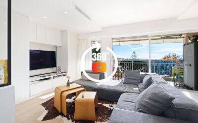 Appartement 2 Pièces exposé plein sud avec vue mer dans belle copropriété de standing au calme absolu, vaste terrasse.
