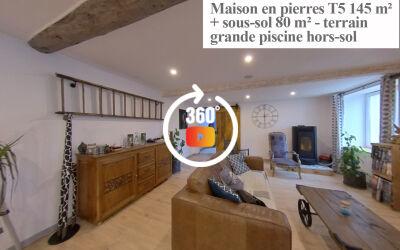 Maison en pierres 145 m² T5, sous sol 80 m², piscine, jardin 360 m². Rénovée.